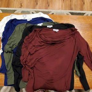Bundle cowl neck long sleeve shirts